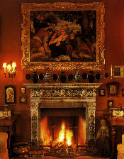 fireplace and painting